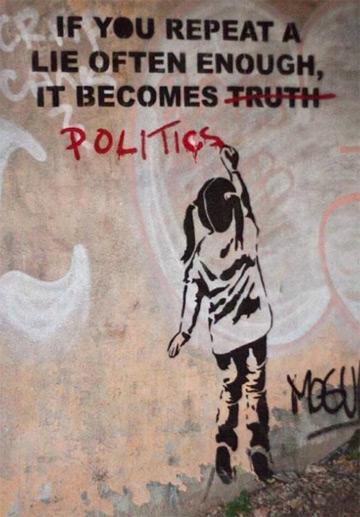 banksy lügen wiederholen politik