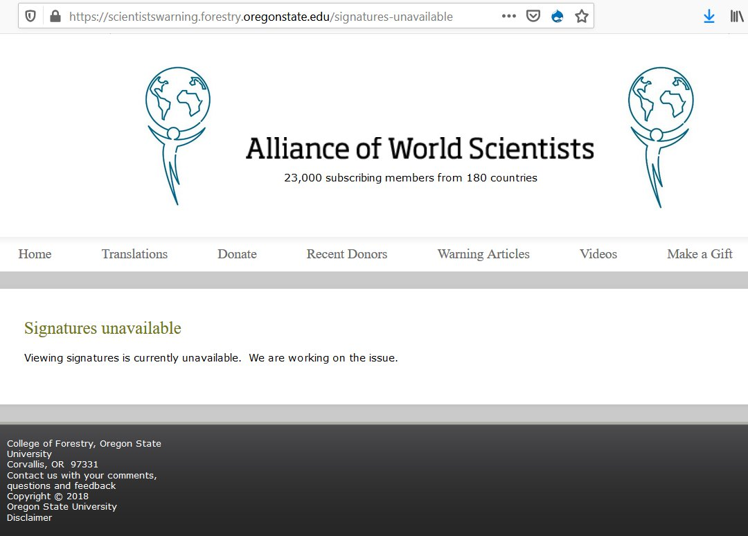 oregon state aliance of world scientists